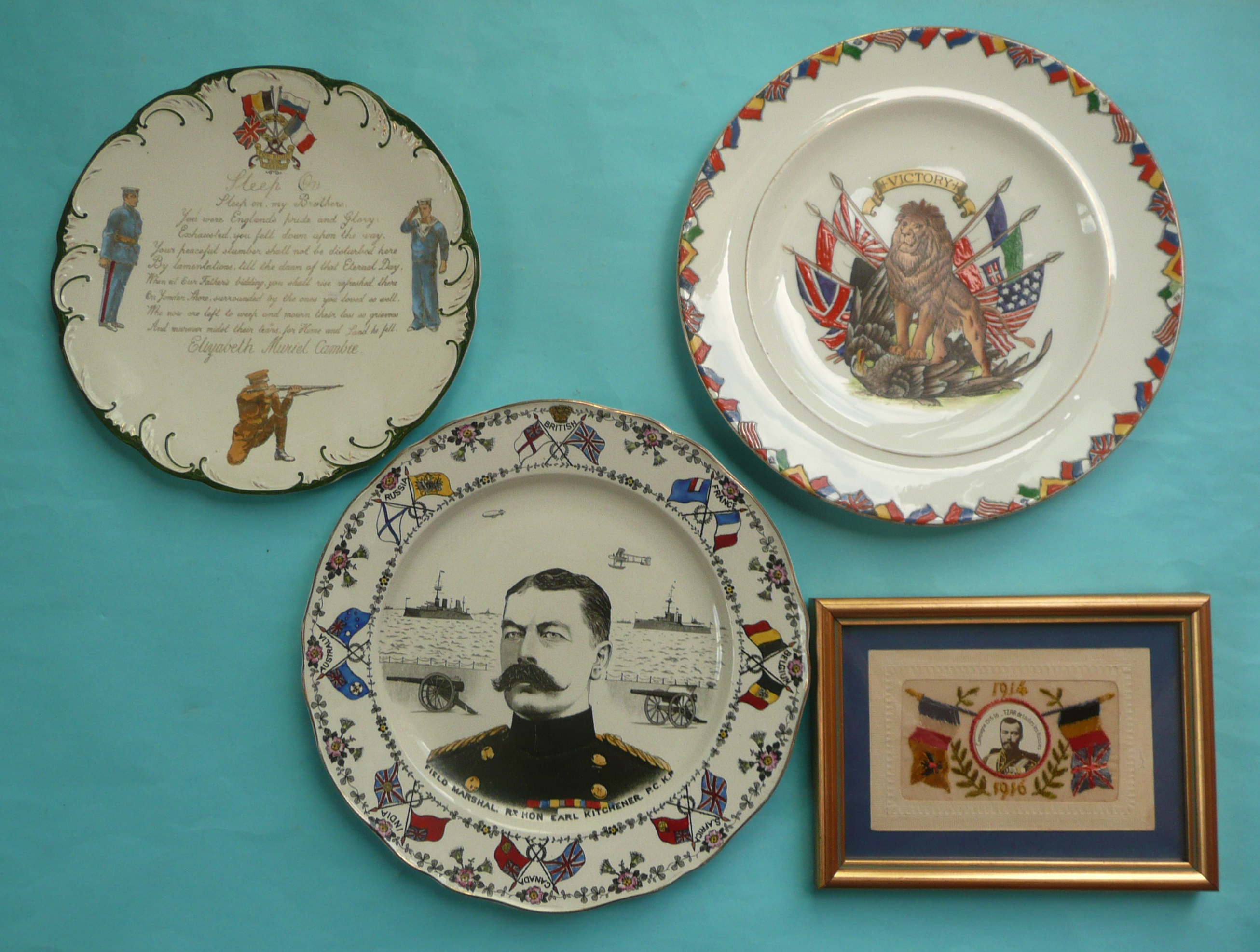 Lot 53 - World War I: a pottery plate by Till & Sons depicting Kitchener, another inscribed with verse and