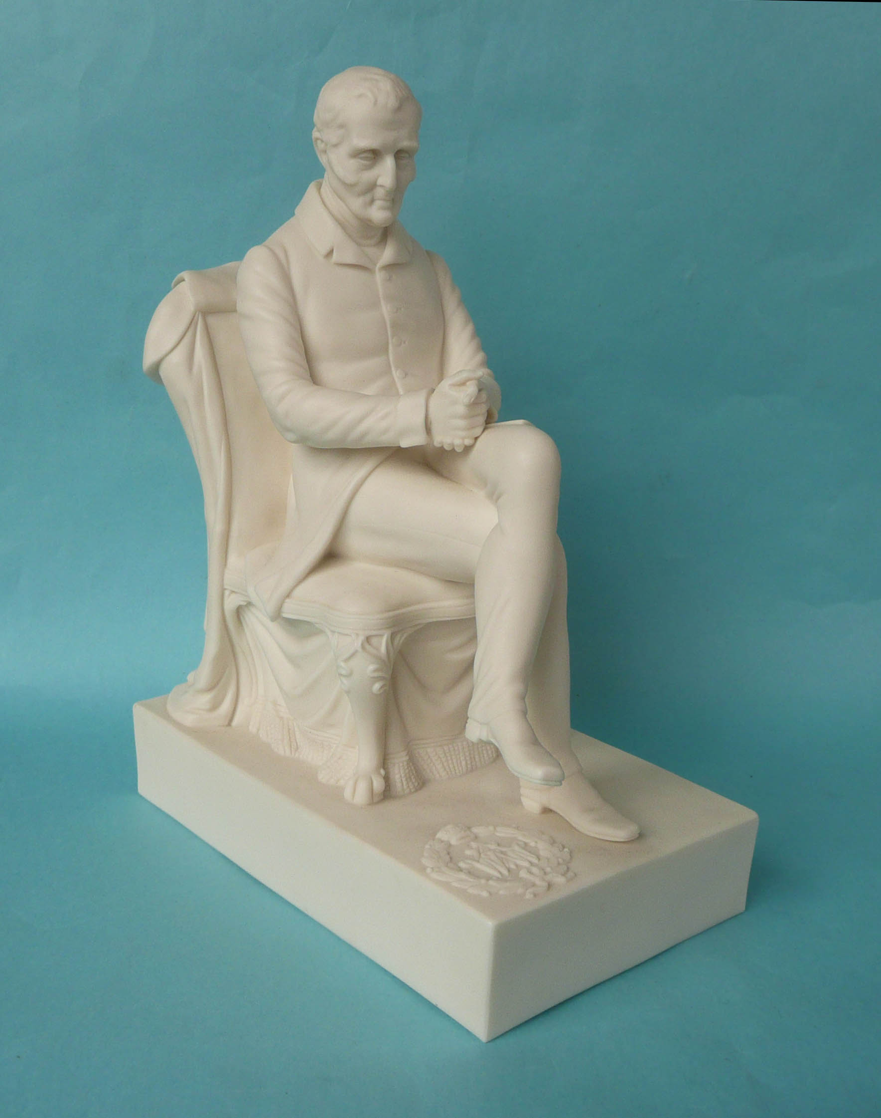 Lot 27 - 1852 Wellington: a good white parian group by Crowquill after G. Abbot depicted seated on a