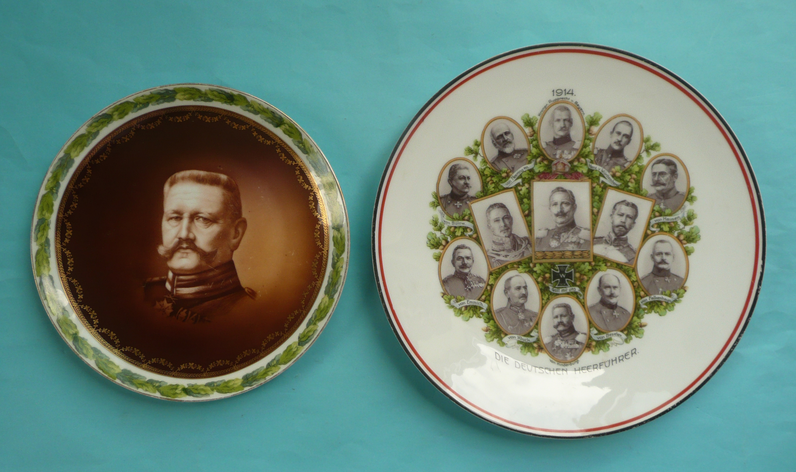 Lot 57 - World War I: a German porcelain plate with sepia portrait of Hindenburg and another with named