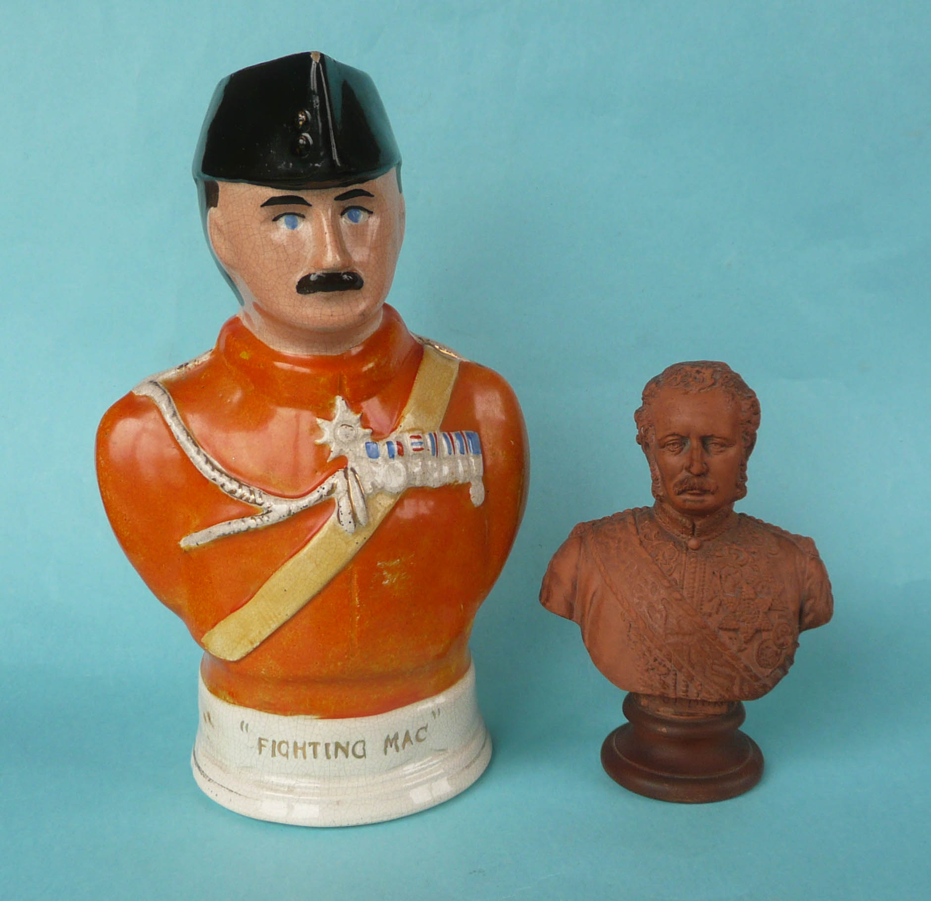 Lot 46 - General Sir Hector MacDonald: a Staffordshire pottery jug in the form of a portrait bust, 245mm,
