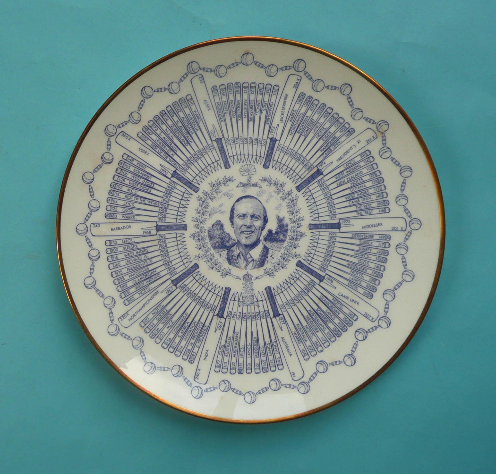 Lot 20 - Geoffrey Boycott: a Coalport 'Century of Centuries' plate, 230mm (commemorative, commemorate)