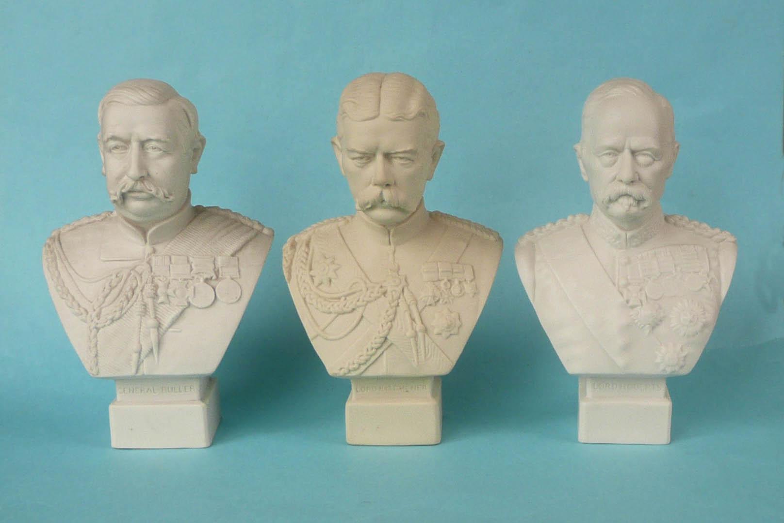Lot 48 - 1900 Boer War: three white parian portrait busts by Robinson & Leadbeater modelled by W. C. Lawton