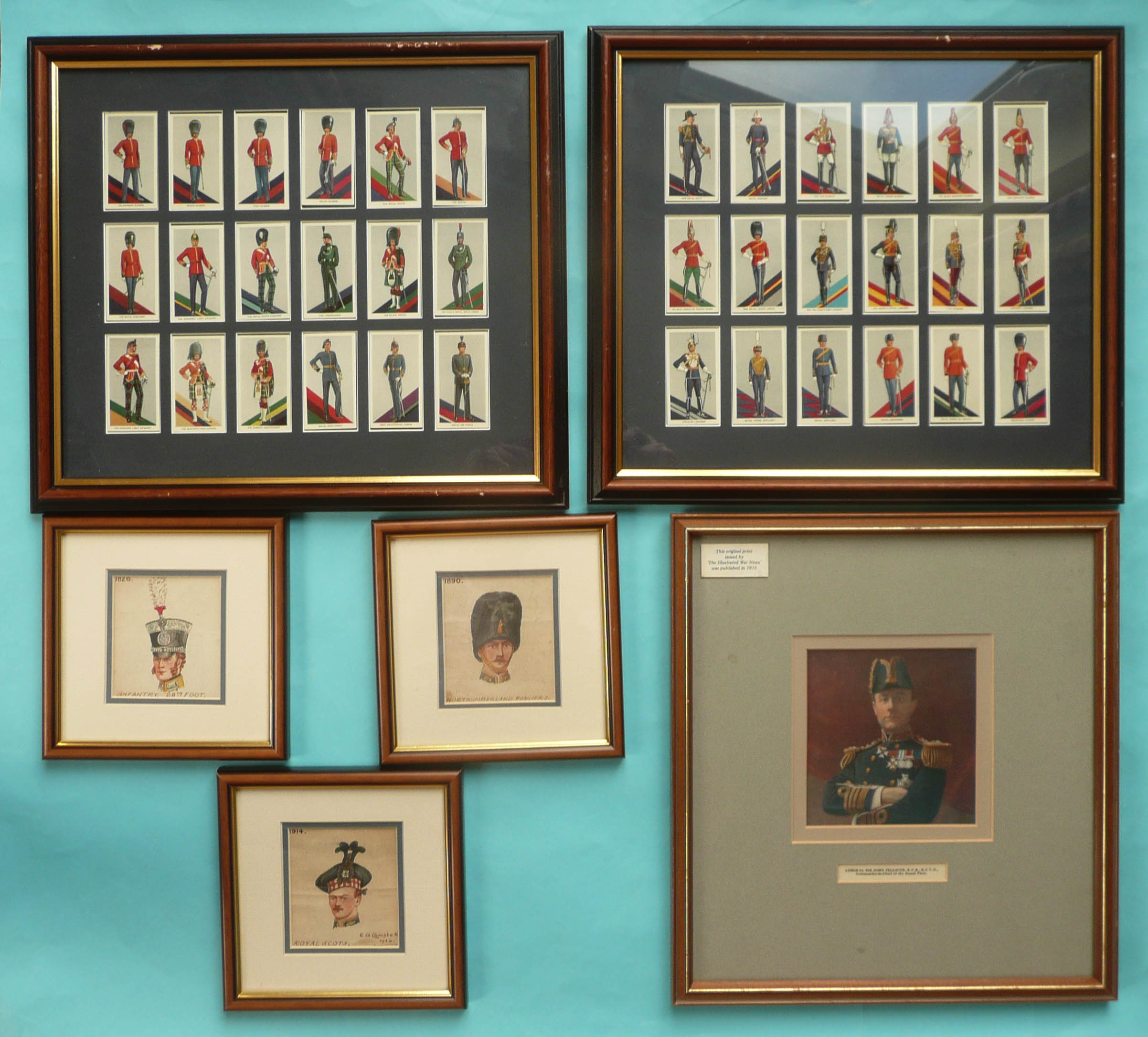 Lot 44 - Three small watercolours by E.A. Campbell dated 1924 depicting the headdress of the Royal Scots in