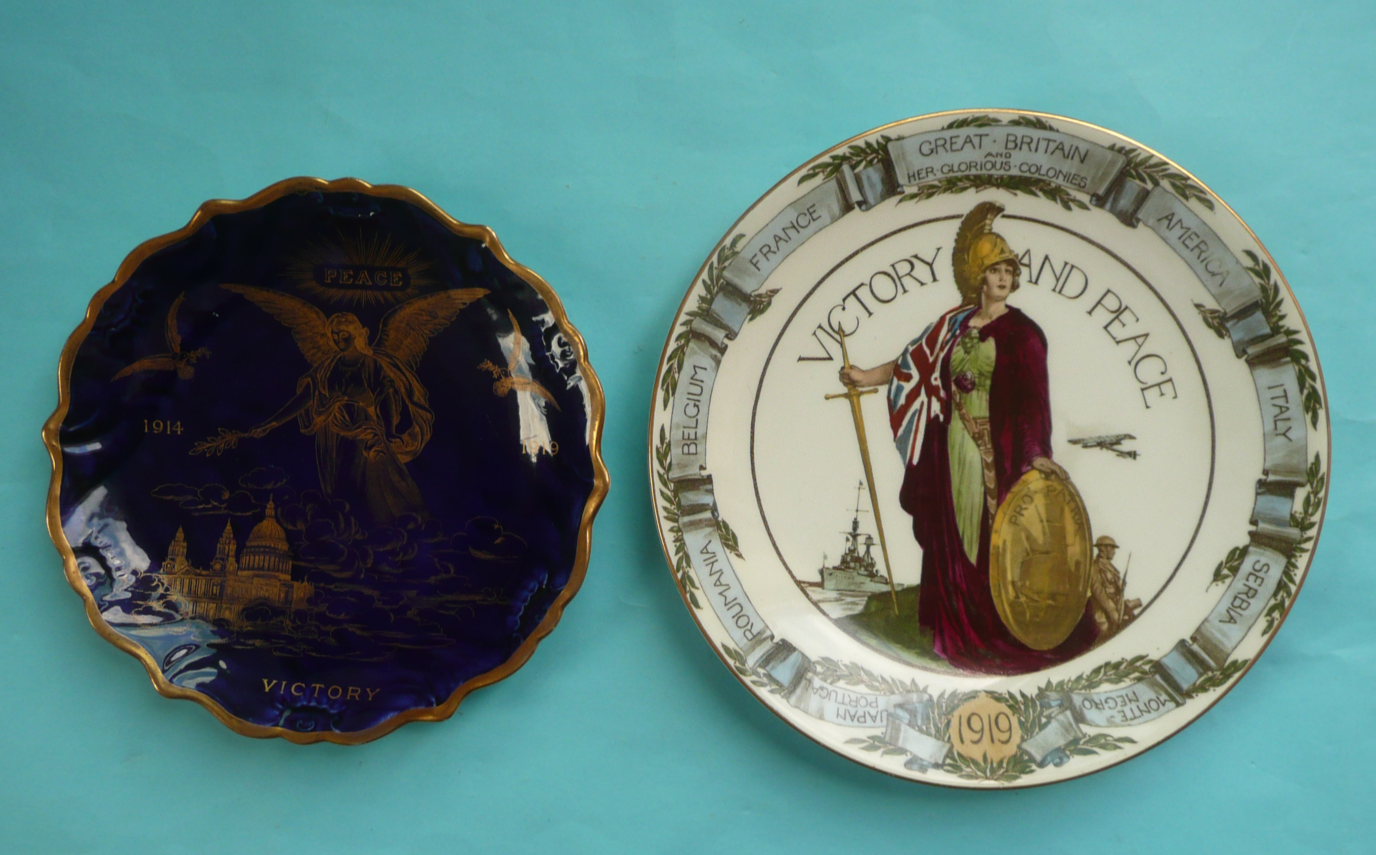 Lot 59 - 1919 Victory: a plate by Chelson China the cobalt blue ground decorated in gilt and another by Royal