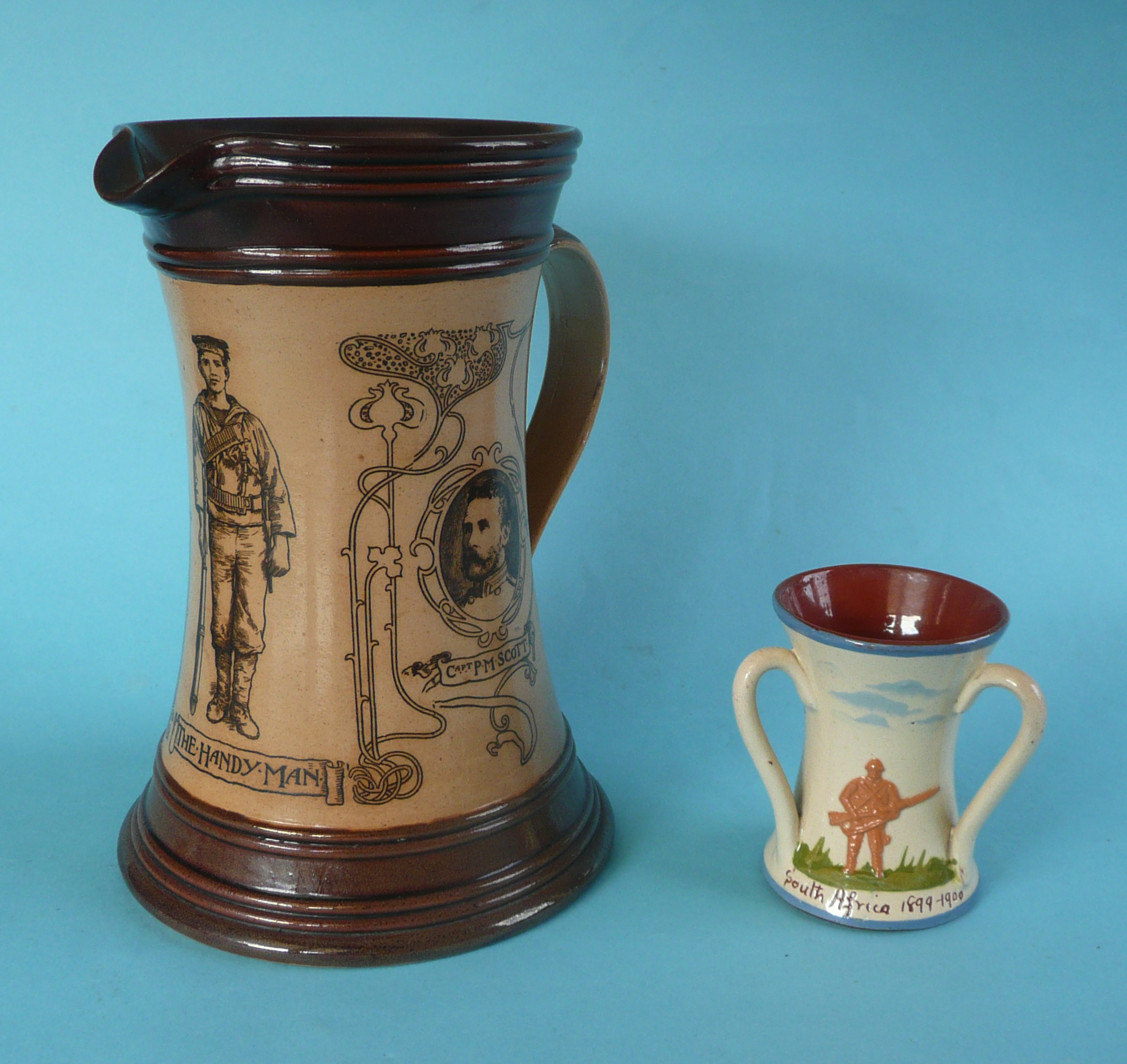 Lot 52 - Boer War: a Doulton Lambeth brown stoneware jug printed with named portraits of Lambton and Scott,