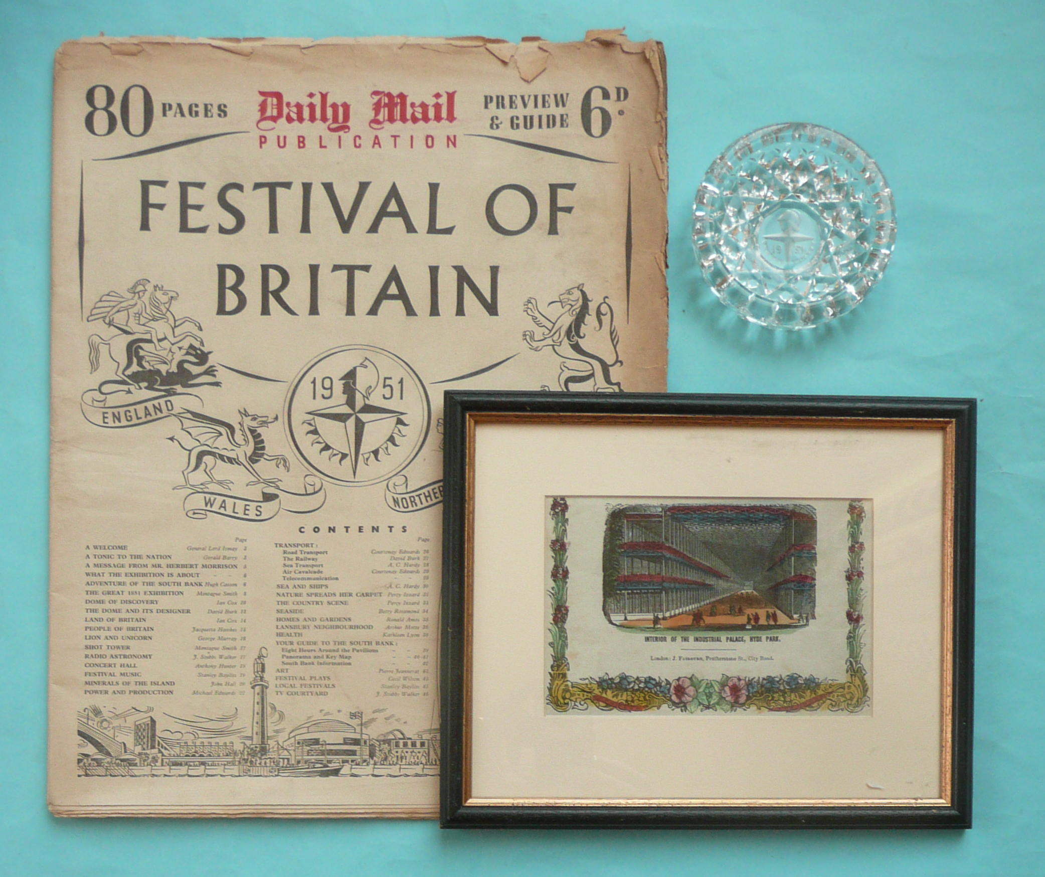 Lot 24 - A moulded glass ashtray, 100mm, a copy of the Daily Mail guide both for 1951 Festival of Britain and