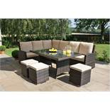 + VAT Brand New Chelsea Garden Company Eight Seater Light Brown Rattan Luxury Corner Outdoor Dining