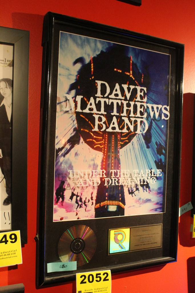 """Dave Matthews Band Commemerative """"Under the Table and Dreaming"""" Framed Platinum Display"""
