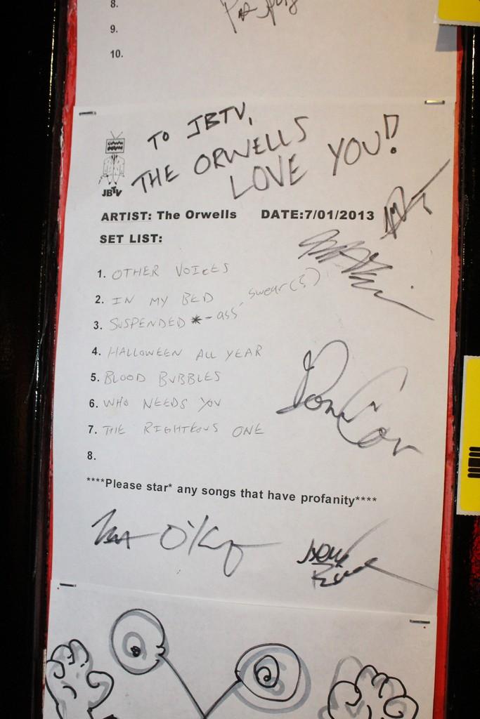 The Orwells Signed JBTV Set List