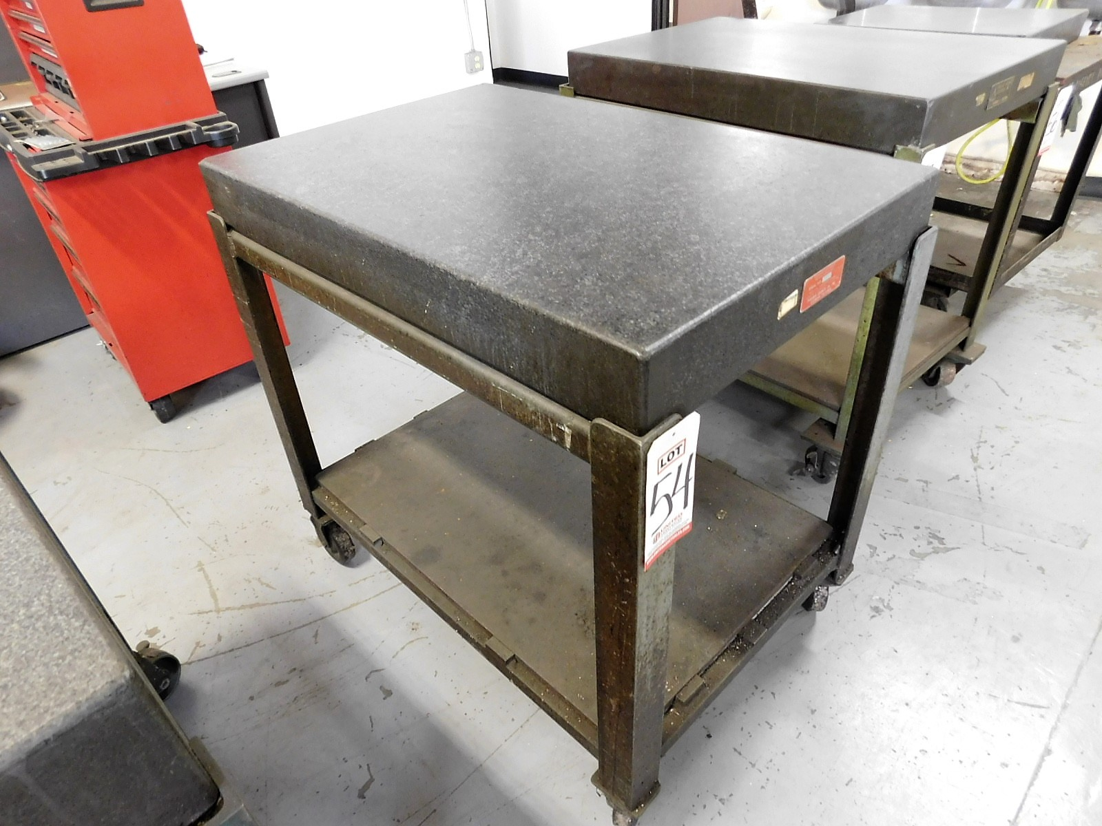 """Lot 54 - GRANITE SURFACE PLATE, 24"""" X 36"""" X 4"""", W/ ROLLING STAND, 36"""" WORK HEIGHT"""
