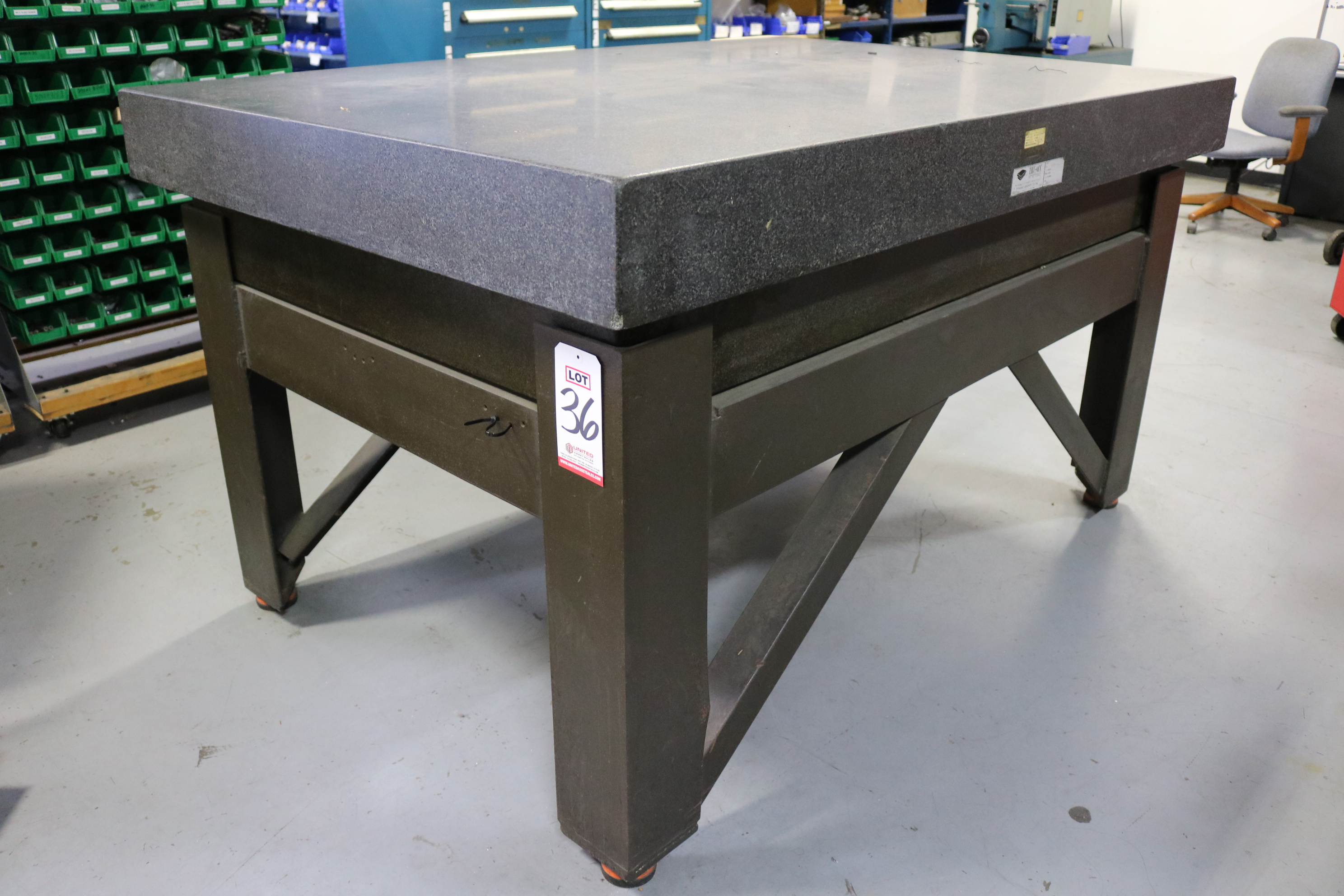 "Lot 36 - MICRO-FLAT GRANITE SURFACE PLATE, 6' X 4' X 6"", STEEL METAL TABLE"