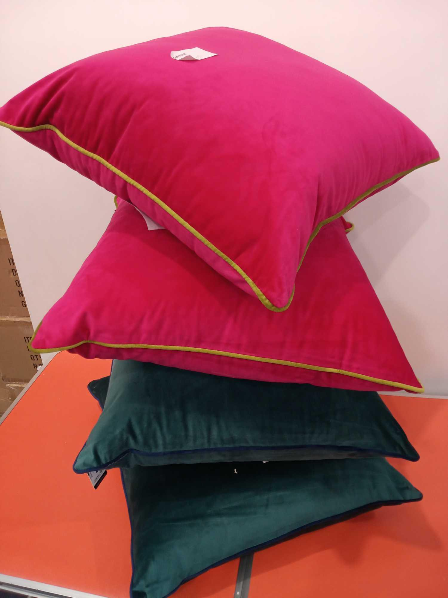 Rrp £30 Each Assorted Paoletti Velvet Cushions 2 In Dark Green With Blue Piping And 2 In Pink With G