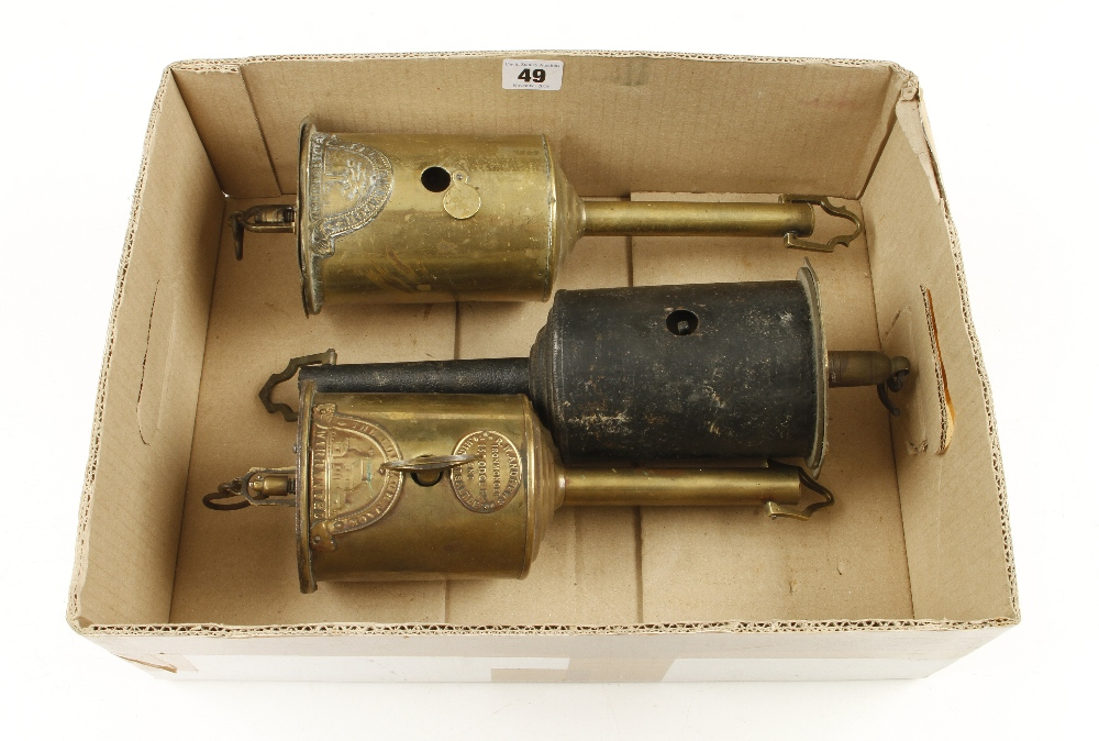 Lot 49 - Two brass roasting spits and another, Only one with a key A.F.