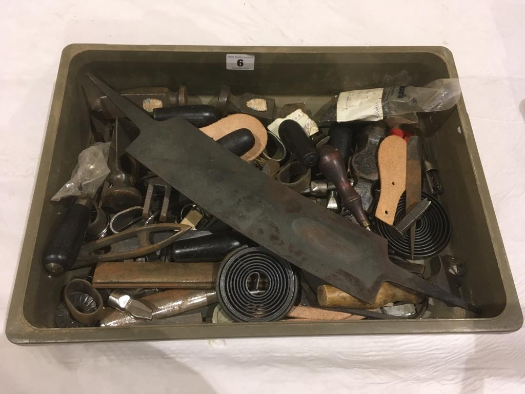 Lot 6 - A box of leather workers tools G