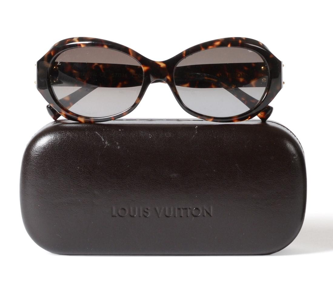 Lot 2143 - Pair of Louis Vuitton Faux Tortoiseshell Sunglasses, with gilt metal hinges, with original glasses