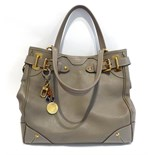 Lot 2144 - Louis Vuitton Grey Leather Handbag, with gilt metal fittings, attached LV bag charm and luggage