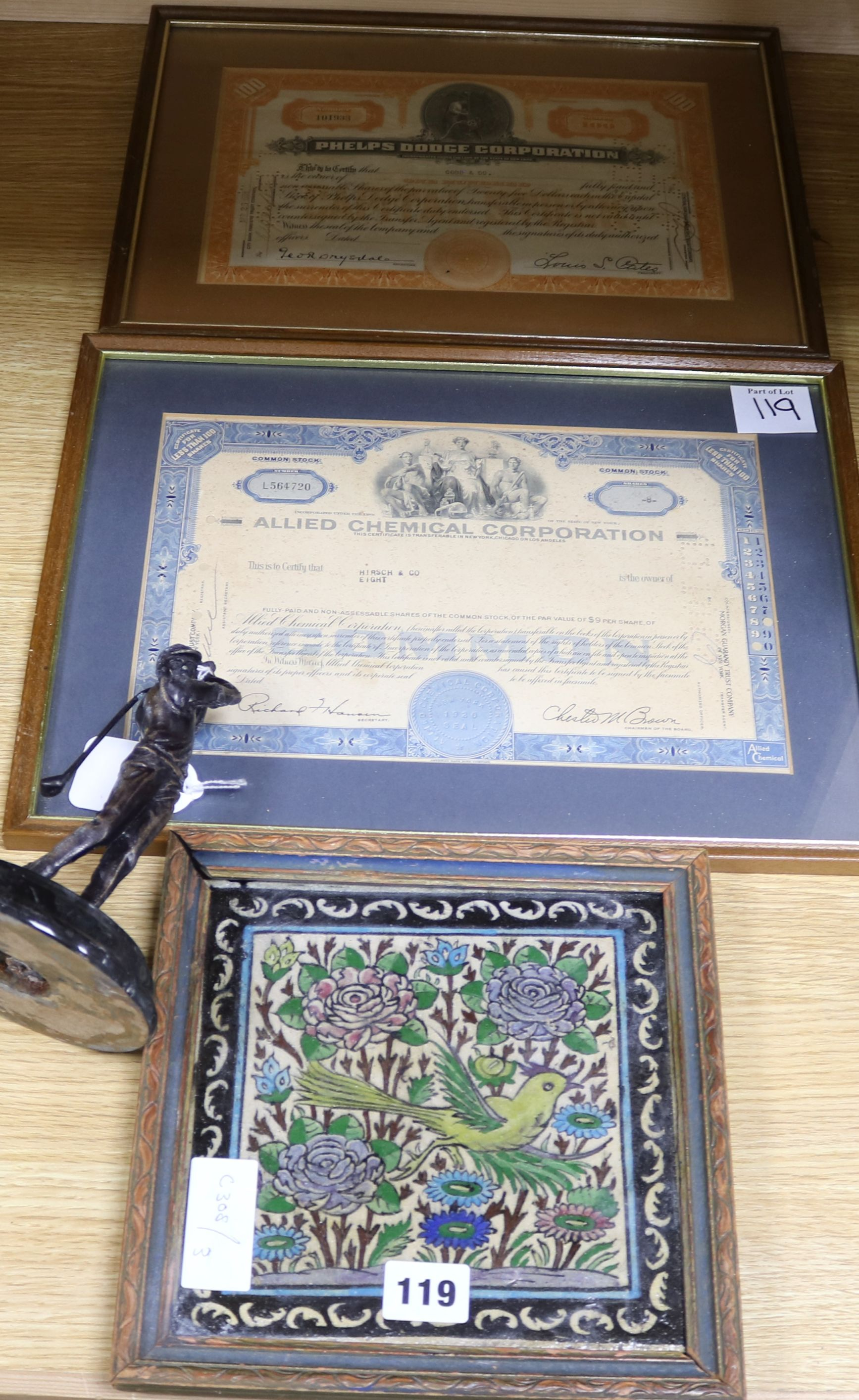 Lot 119 - A bronze model of a golfer and two certificates