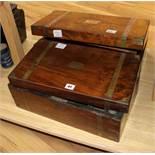 A mahogany writing slope and a mahogany writing slope