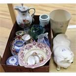 A Goebels dog, Imari dishes, vase etc
