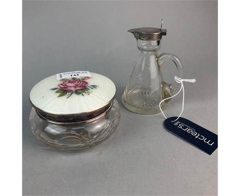 GLASS WHISKY NOGGIN, approximately 10.5cm high, with silver mount along with a glass powder bowl with enamel cover (2)