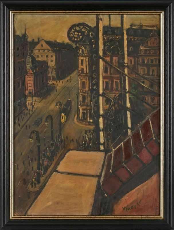 """Lot 5 - Gemälde Willy Meyer1894 Mainz - 1966 Frankfurt Frankfurter Expressionist. """"Hauptwache"""" um 1935 u."""