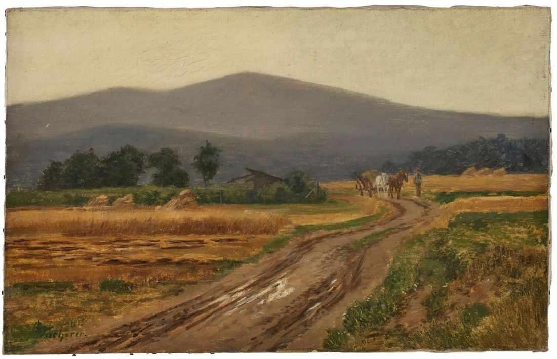 """Lot 15 - Gemälde Fritz Wucherer1873 Basel - 1948 Kronberg """"Herbstliche Taunuslandschaft mit Blick auf den"""