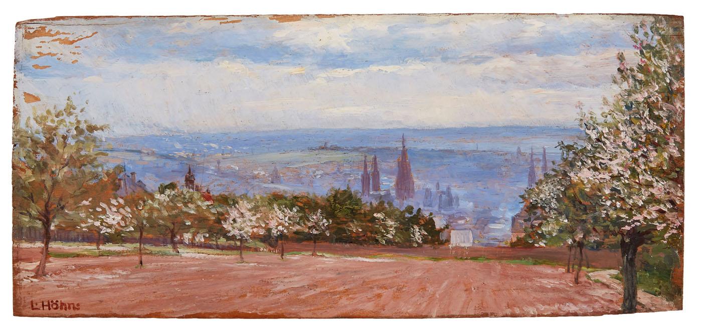 "Lot 47 - Gemälde Sign. Louis HöhnsLandschaftsmaler um 1910. ""Blick auf Wiesbaden vom Hof Geisberg"" u. li."