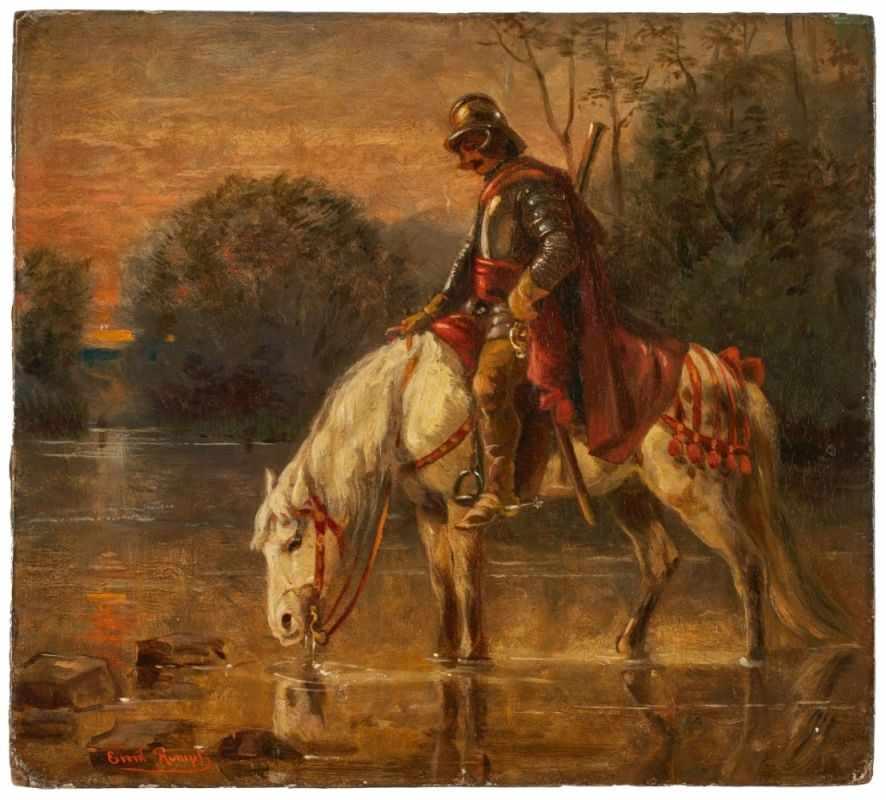 """Lot 39 - Gemälde Emil Rumpf1860 Frankfurt - 1948 Frankfurt """"Kavallerist mit seinem Schimmel an der Tränke"""" u."""