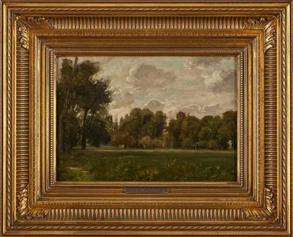 "Lot 33 - Gemälde Peter Burnitz1924 Frankfurt - 1886 Frankfurt ""Baumbestandene Wiesenlandschaft"" u. re."