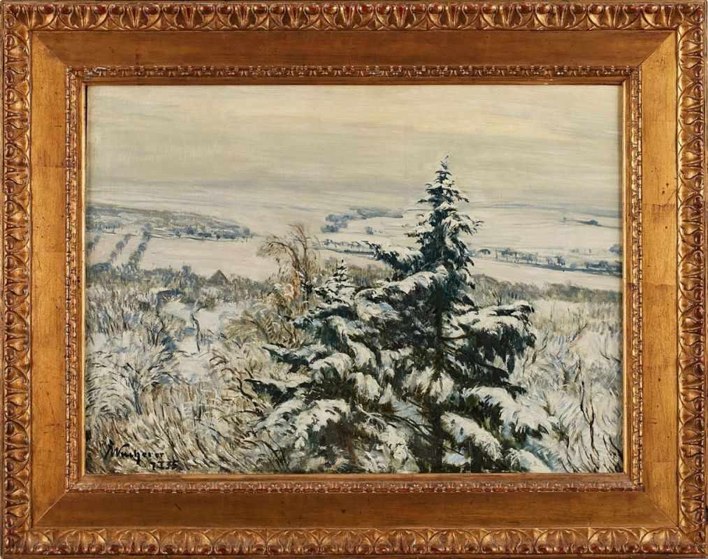 "Lot 11 - Gemälde Fritz Wucherer1873 Basel - 1948 Kronberg ""Verschneite Taunuslandschaft"" u. li. sign. u. dat."