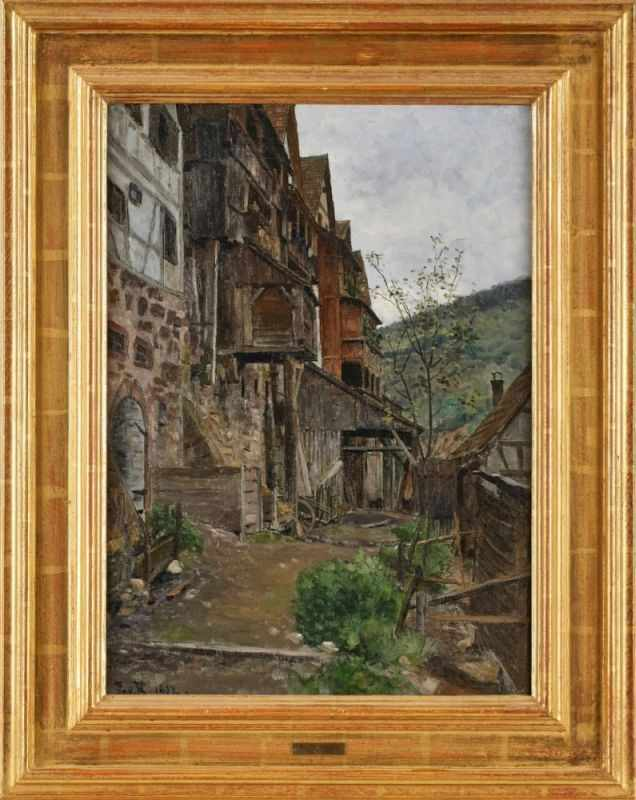 """Lot 27 - Gemälde Paul von Ravenstein1854 Breslau - 1938 Karlsruhe """"Malerischer Winkel (Friedenstadt)"""" u."""