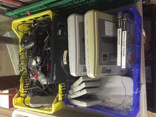 Lot 233 - Two crates of Super Nintendo with games,