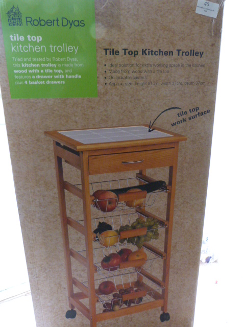 Lot 40 - *Tile Top Kitchen Trolley