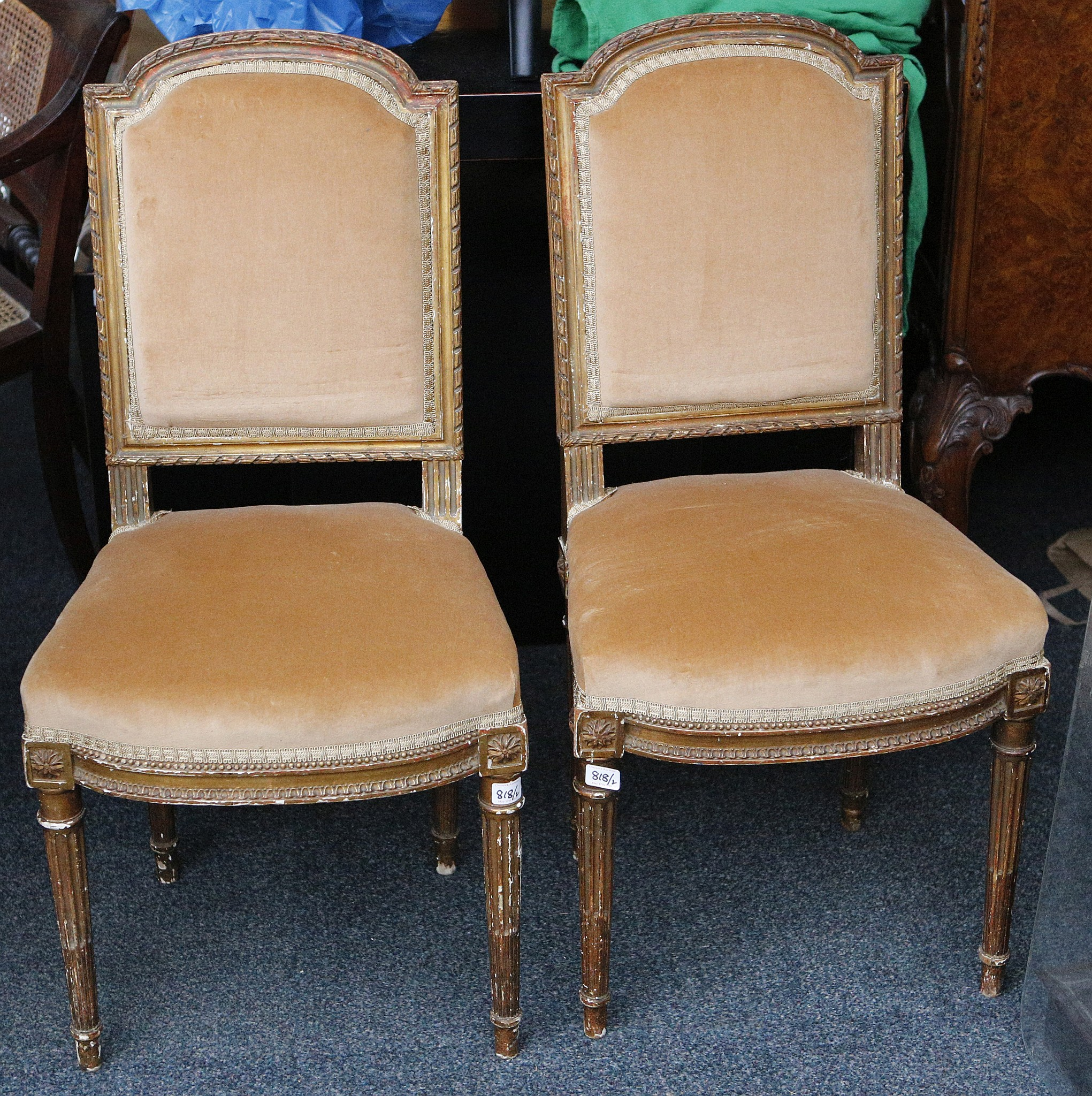 Superieur Lot 818   A Pair Of Gilded Louis XVII Style Side Chairs, Ribbon Twist Border