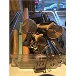 LOT OF ASS'T S.S. KITCHEN UTENSILS W/ CAMBRO POLY. INSERT