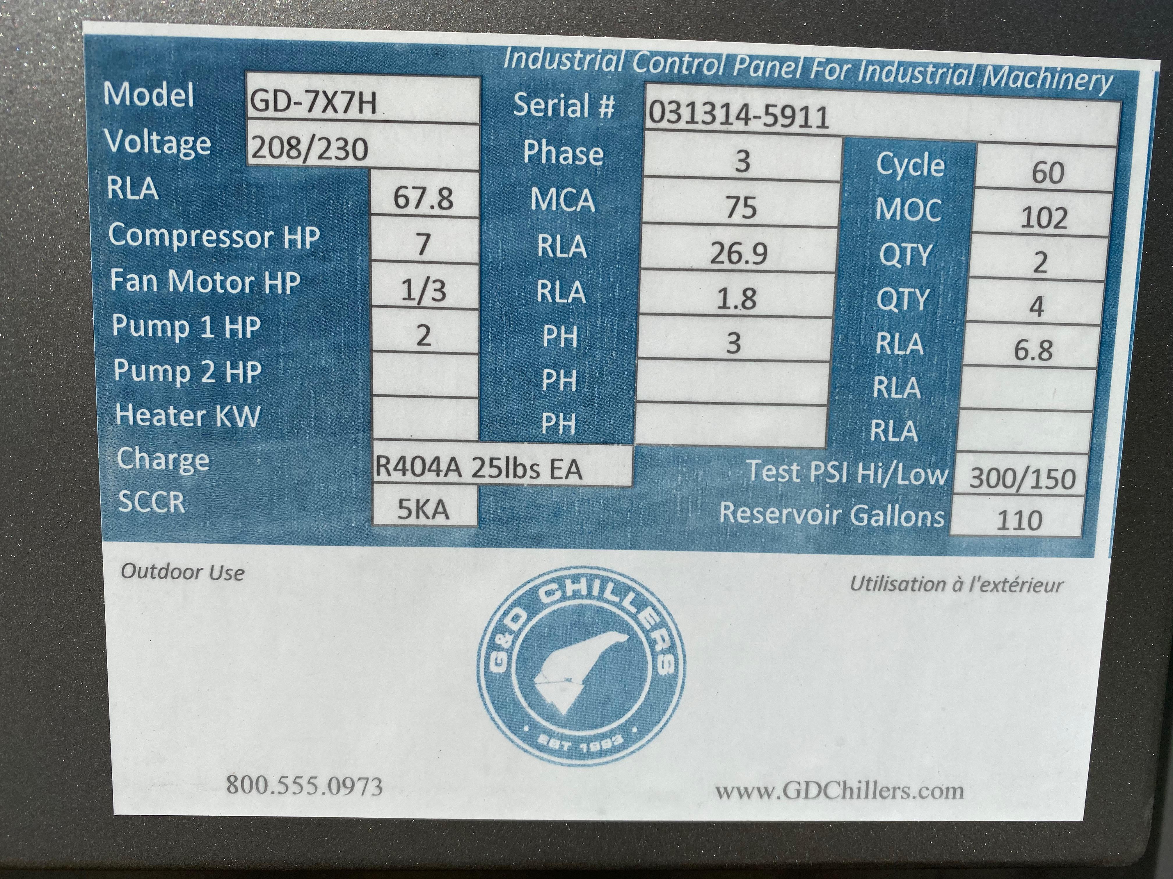 Lot 2 - 2014 G&D Model GD-7X7H Glycol Chiller, 7HP Compressor, S/N: 031314-5911 | Rig Fee: $1250