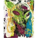 """Jonathan Meese. """"DR. 'FISH AND CHIPS' IS TOO FIT IN COLD BELLY 'HOTTIE'"""". 2014"""