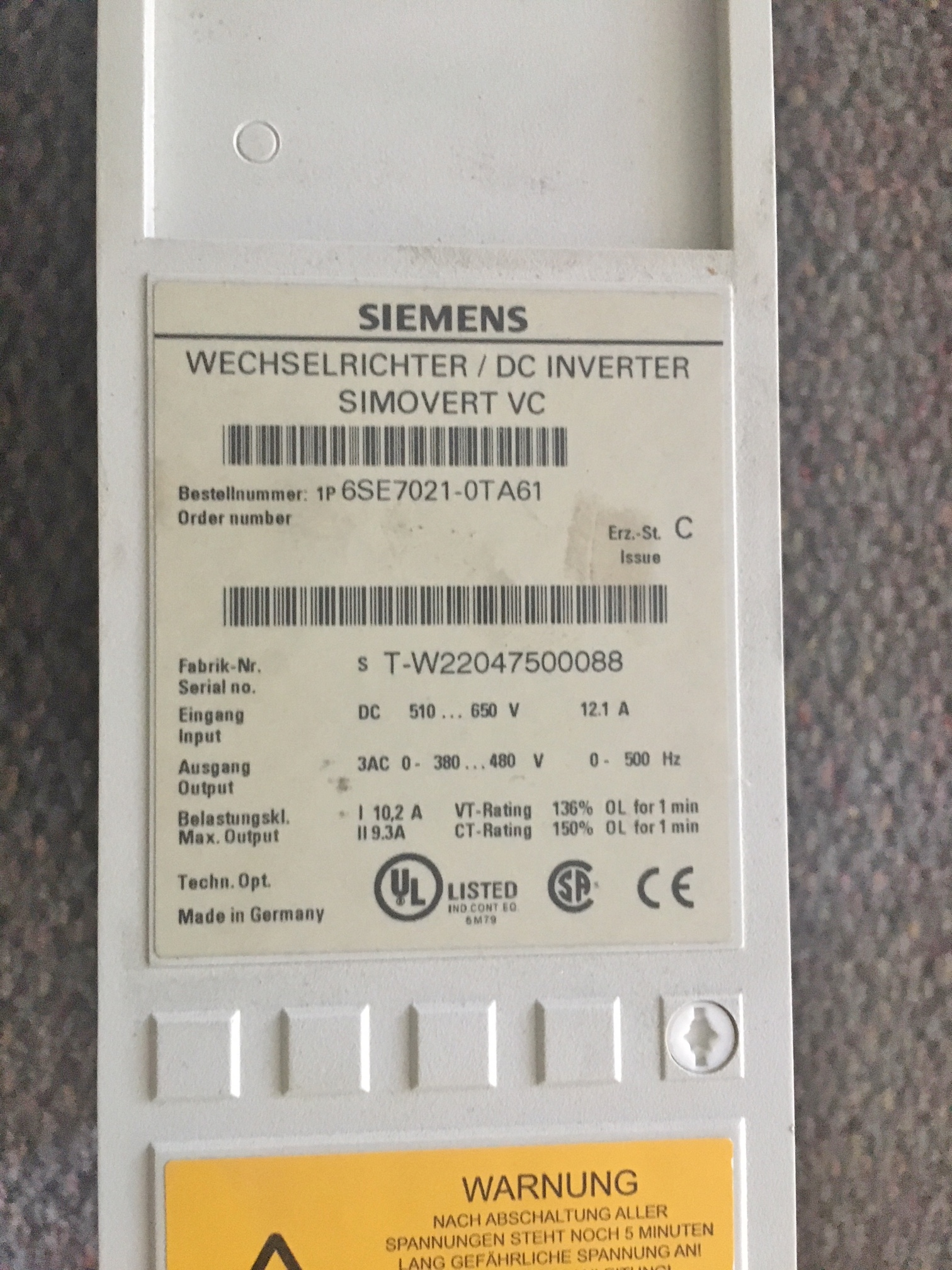 Lot 53 - Lot of 2 Siemens DC Inverter Simovert Drive