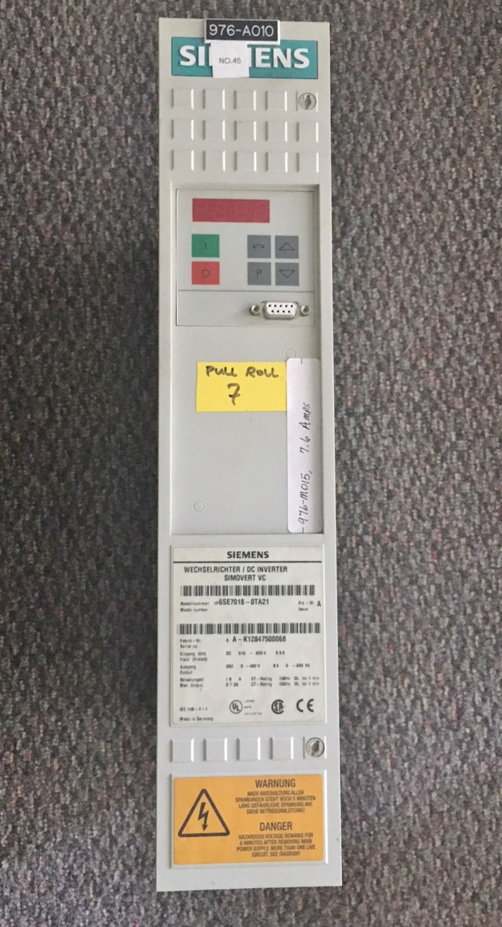 Lot 52 - Lot of 9 Siemens DC Inverter Simovert Drive