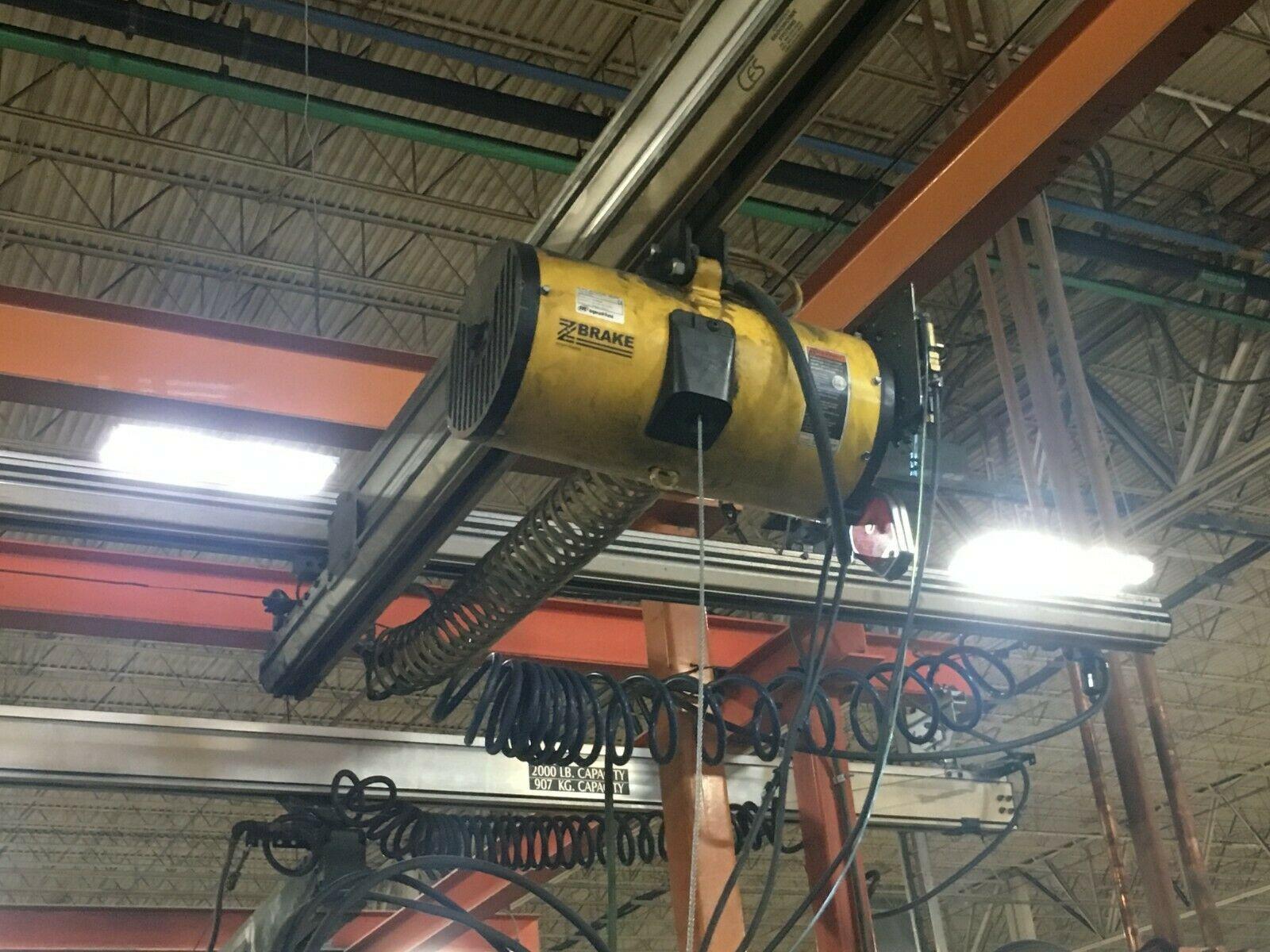Lot 41 - 880 lb Free Standing Bridge Crane w/ Air Hoist
