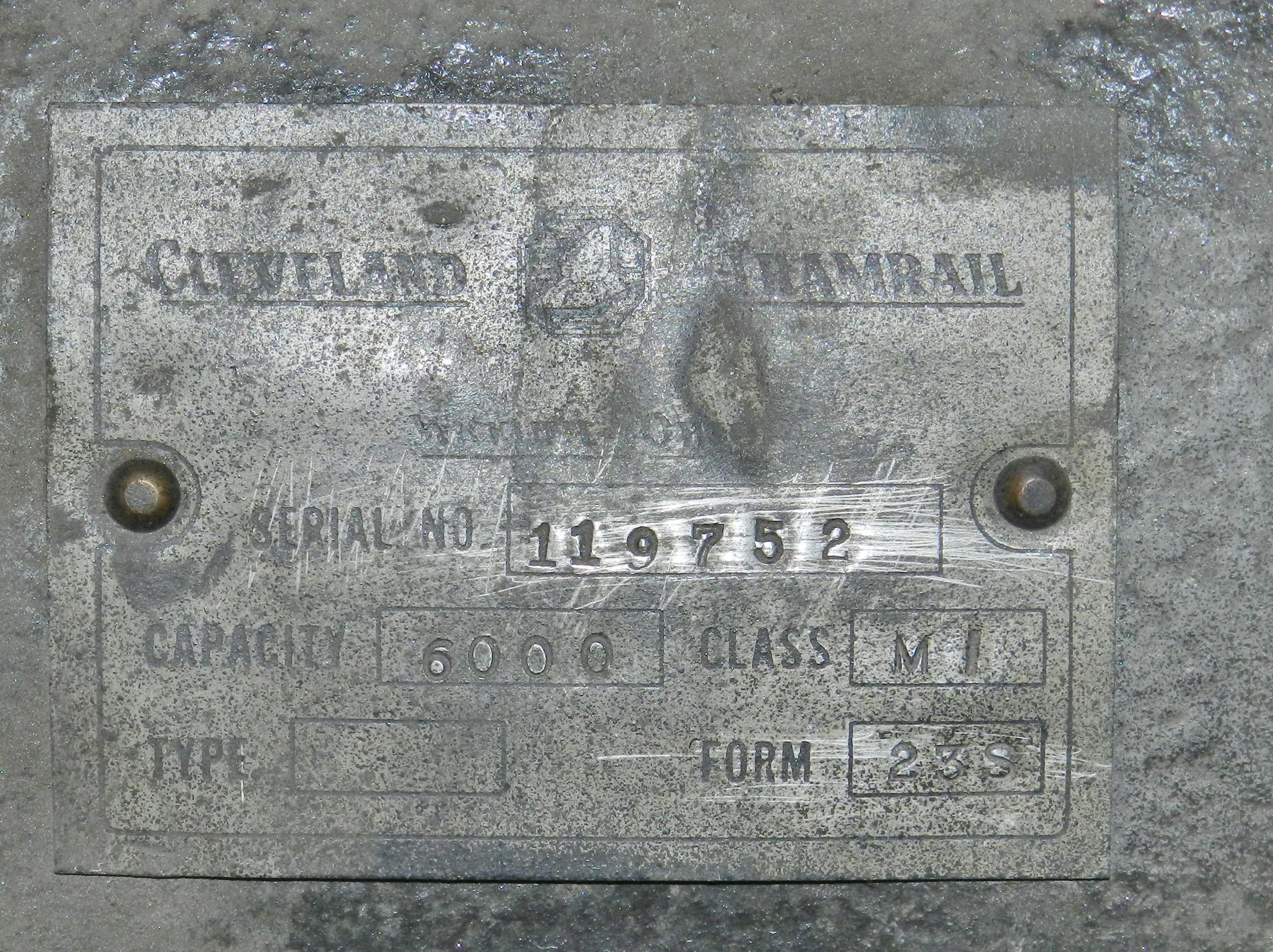 Lot 42 - Cleveland Tramrail 3 Ton Cable Hoist