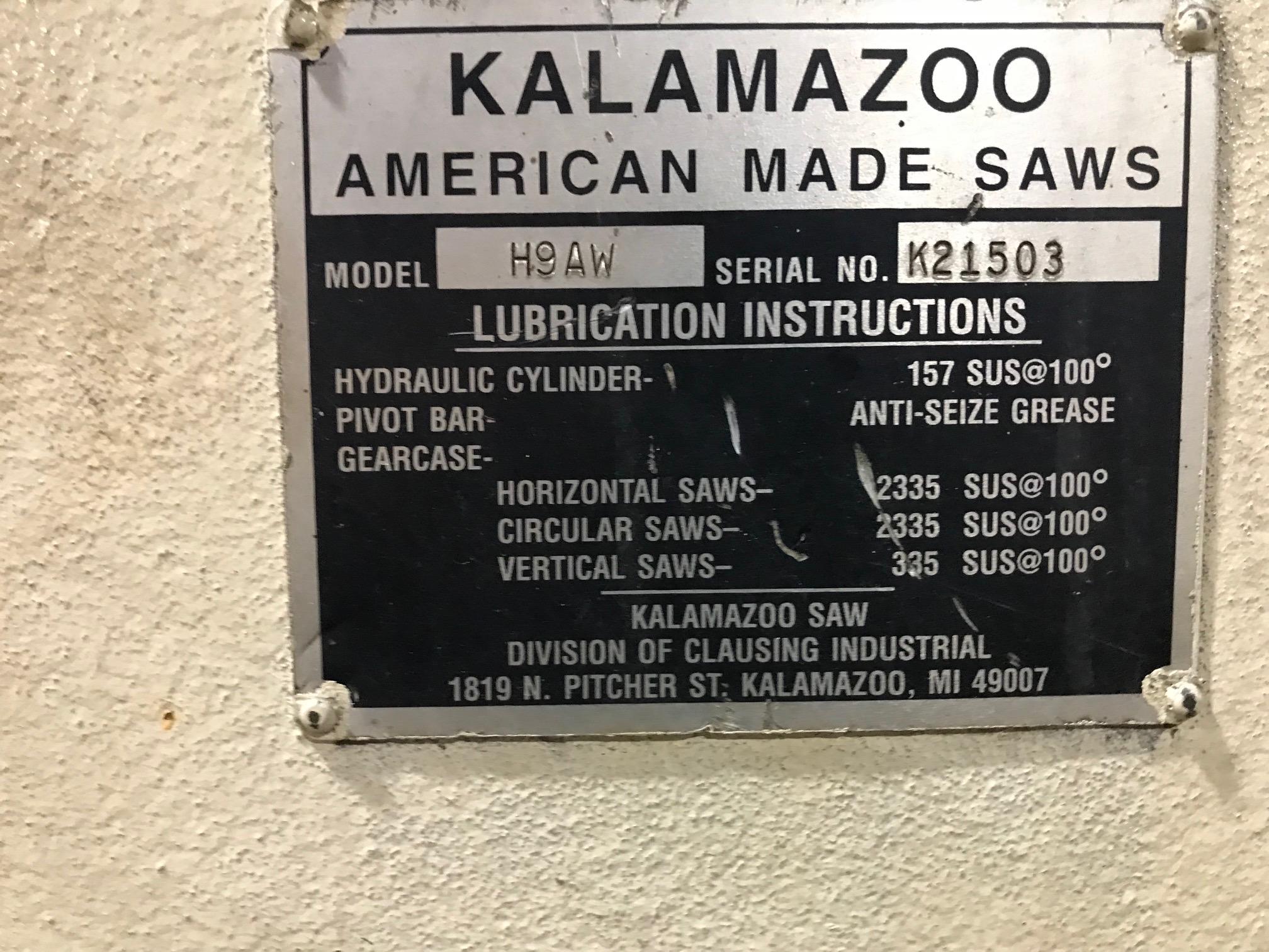 "Lot 65 - Kalamazoo 9"" x 13"" Horizontal Metal Cutting Band Saw"