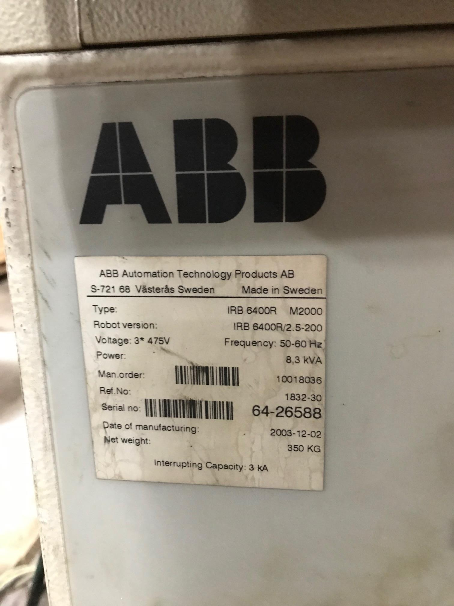 Lot 8 - 2003 to 2005 - ABB - IRB6400R M2000 2.5-150 - S4C+ Controller
