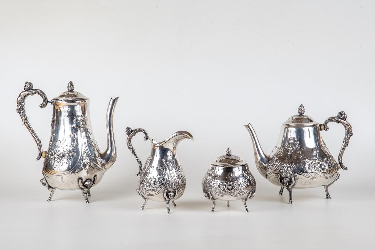 4-teiliges Kaffee-Teeset, nach einem Entw. v. Tiffany, deutsch um 1900