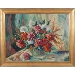 Üppiger Blumenstrauß in GlasvaseWilhelm Kaufmann(Wien 1895 - 1975)Öl auf Karton61 x 80 cm,