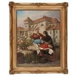 """Markt auf der FreyungA. Bittner Maler des 19./20. Jahrhunderts Öl auf Leinwand signiert """"A. Bittner"""""""