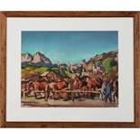 """Viehschau in KitzbühelHerbert Pass (Wien 1913 - 1983) Gouache auf Papier,46 x 59 cm, signiert """""""