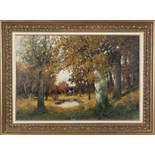 Herbst in den DonauauenAdolf Kaufmann(Troppau 1848 - 1916 Wien)Öl auf Leinwand47 x 68,5 cm, signiert