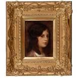 Porträt einer jungen FrauEduard Veith (Neutitschein 1856 - 1925 Wien)Öl auf Holz 26 x 20 cm,