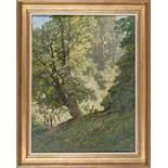 Morgen im Buchenwald (Rehe an einer Waldlichtung)Leopold Rothaug(Wien 1868 - 1959)Öl auf Karton 65 x